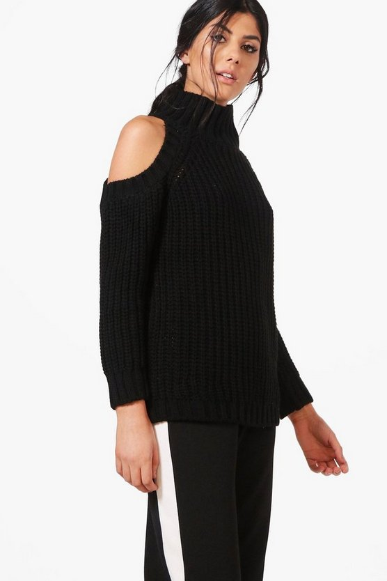Holly High Neck Cold Shoulder Oversized Jumper