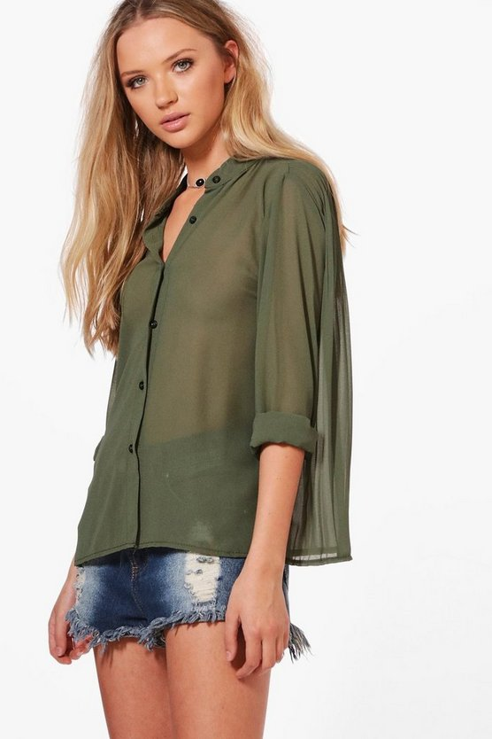 Lucy Button Through Pleated Back Blouse