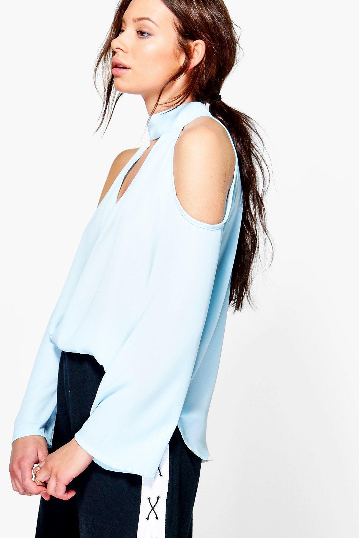 Cold Shoulder Choker Blouse  blue