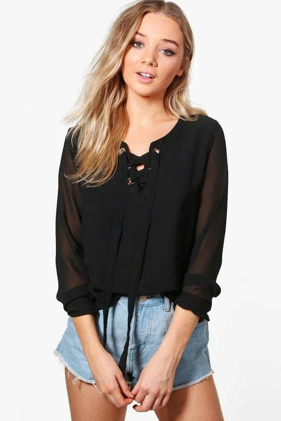 Mila Lace Up Long Sleeve Blouse