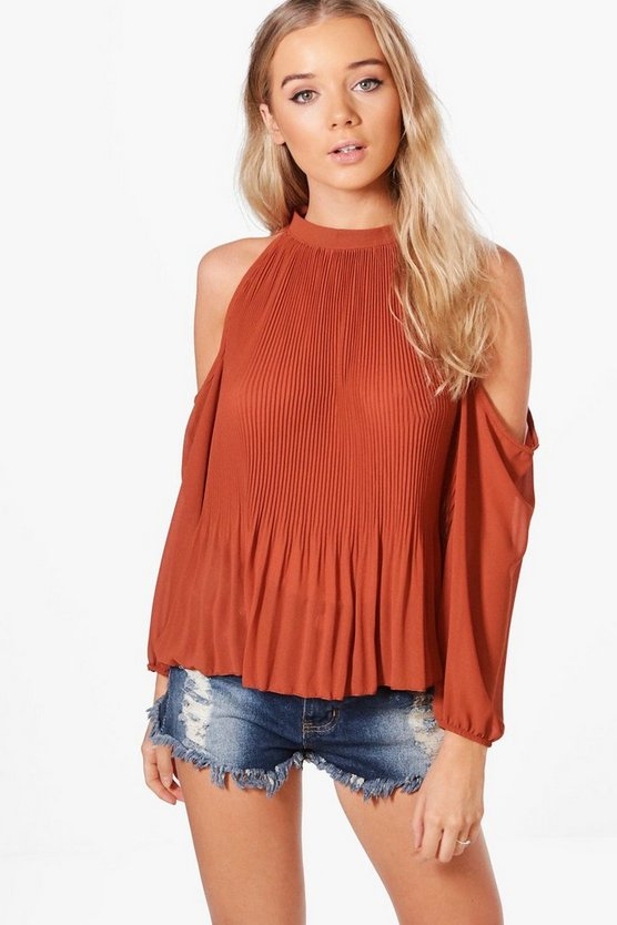 Skyler Cold Shoulder Pleated Frill Sleeve Top
