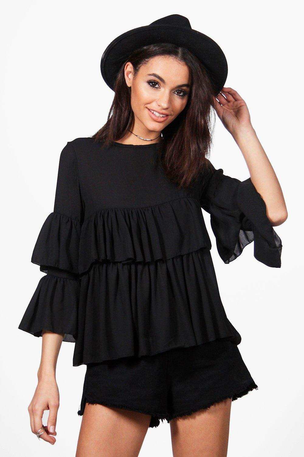 Ruffle Tiered Blouse  black