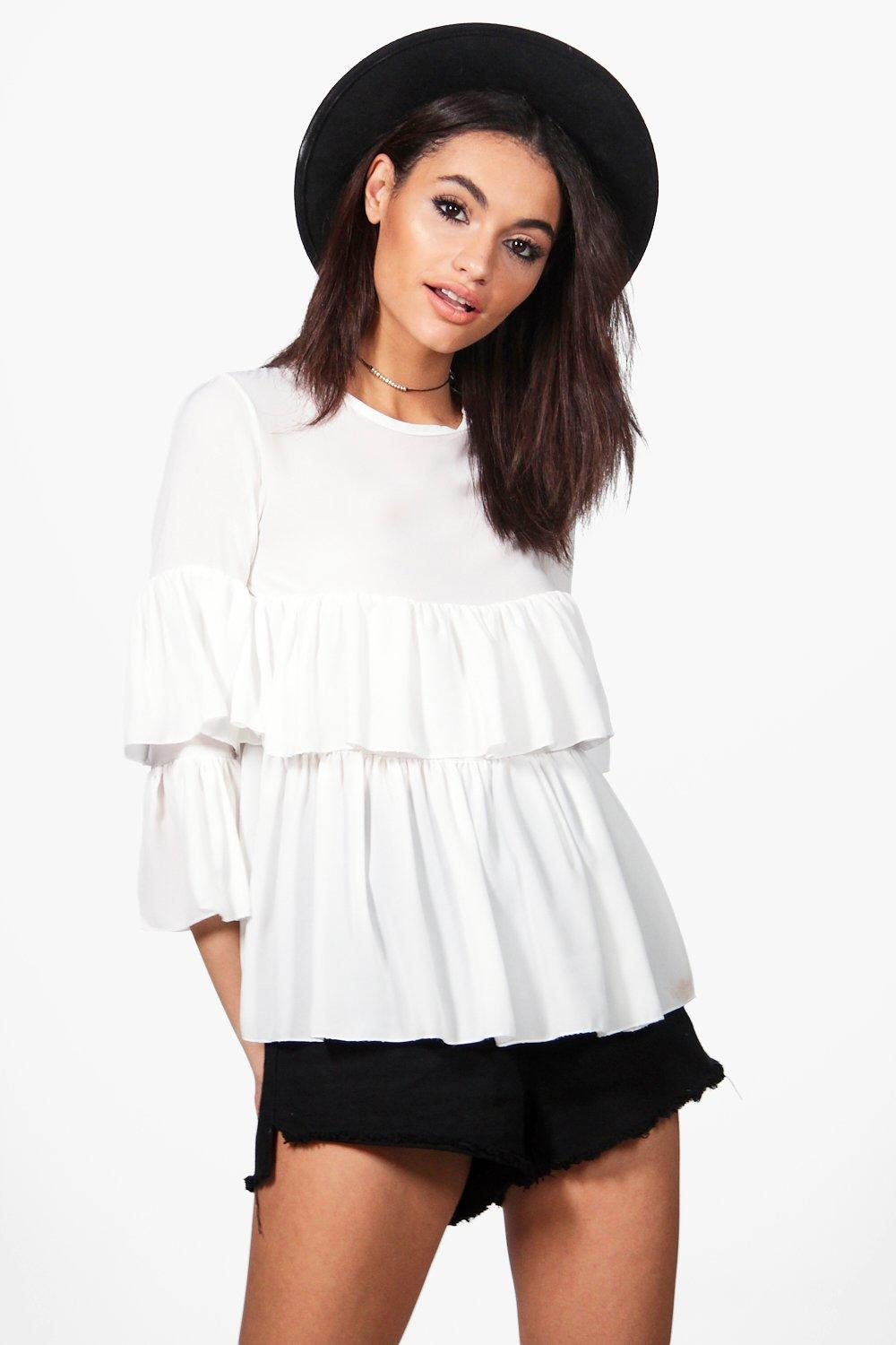 Ruffle Tiered Blouse  white
