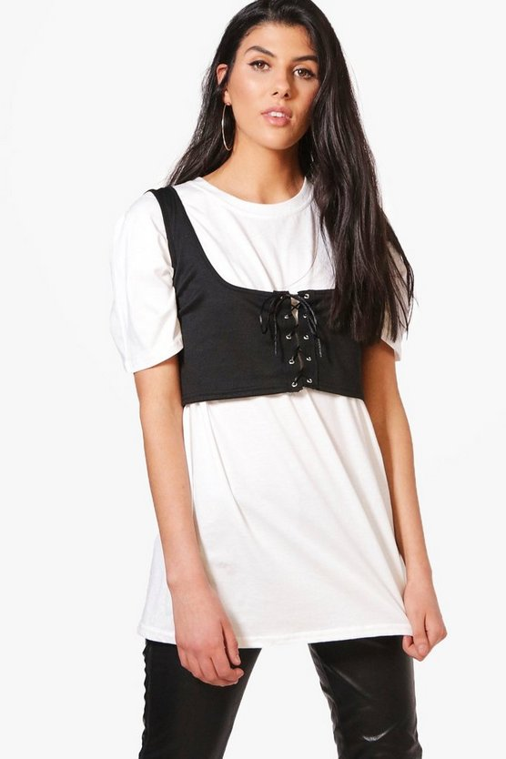 Taylor 2 In 1 Lace Up Corset Bralet T-Shirt