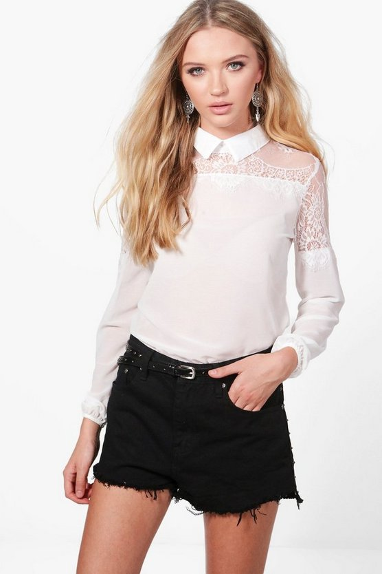 Maya Eyelash Lace Trim Shirt