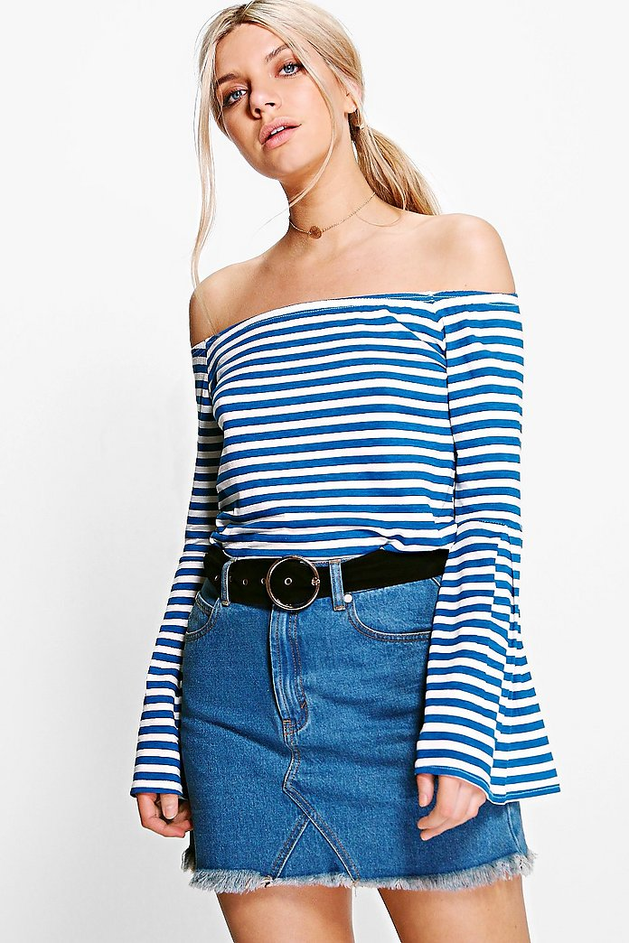 Lucy Stripe Off The Shoulder Top