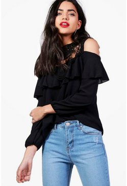 Grace Crochet Panel Cold Shoulder Blouse