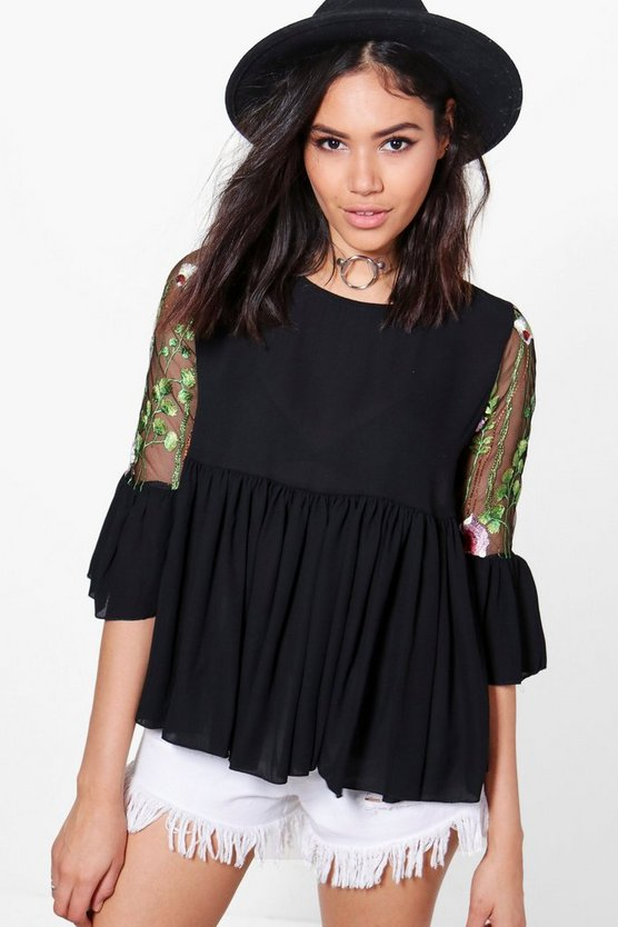 Eva Embroidered Mesh Woven Top