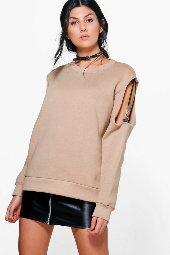 Elena Ribbon Strap Cold Shoulder Sweatshirt