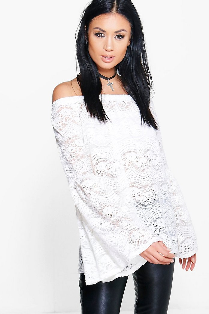 Emilia Off The Shoulder FLute Sleeve Lace Top