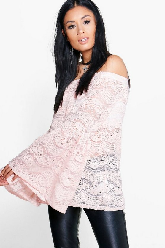 Emilia Off The Shoulder Flare Sleeve Lace Top