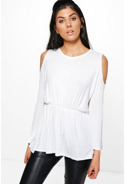 Helena Cold Shoulder Flared Waist Top