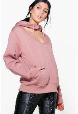 Heather Choker Detail Hooded Sweatshirt
