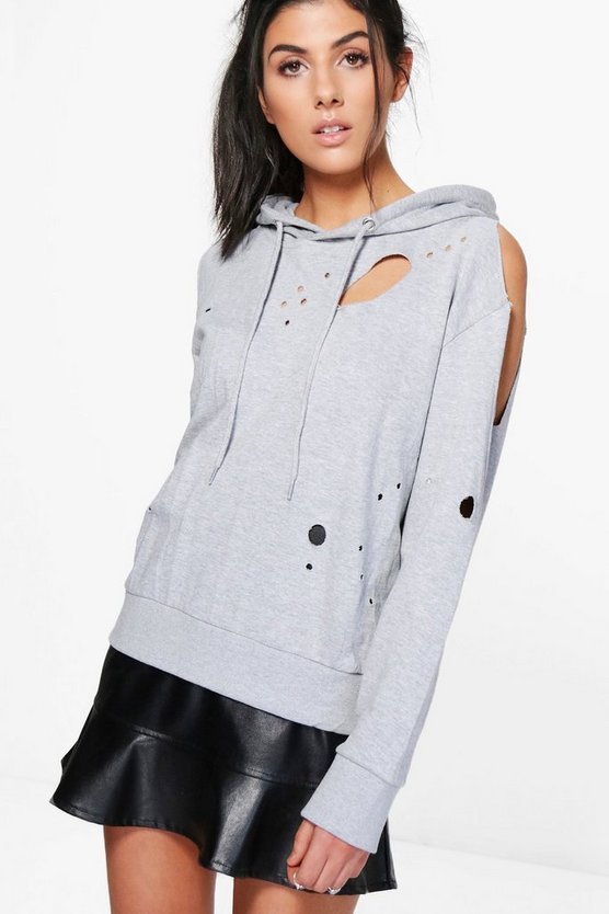 Hannah Distressed Cold Shoulder Hoody