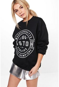Anna Oversized Printed Front Sweatshirt