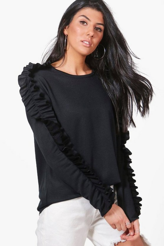Molly Ruffle Sleeve Oversized Sweatshirt