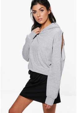 Julie Cold Shoulder Loop Back Hoody