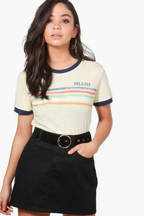 Nikita Miami Slogan Washed Stripe T-Shirt