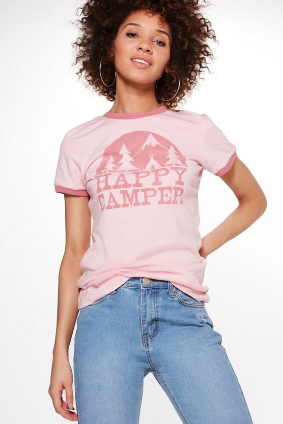 Cleo Happy Camper Slogan T-Shirt