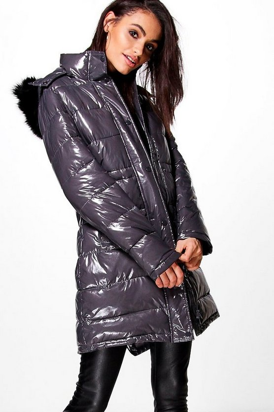 Lexi Wet Look Padded Coat