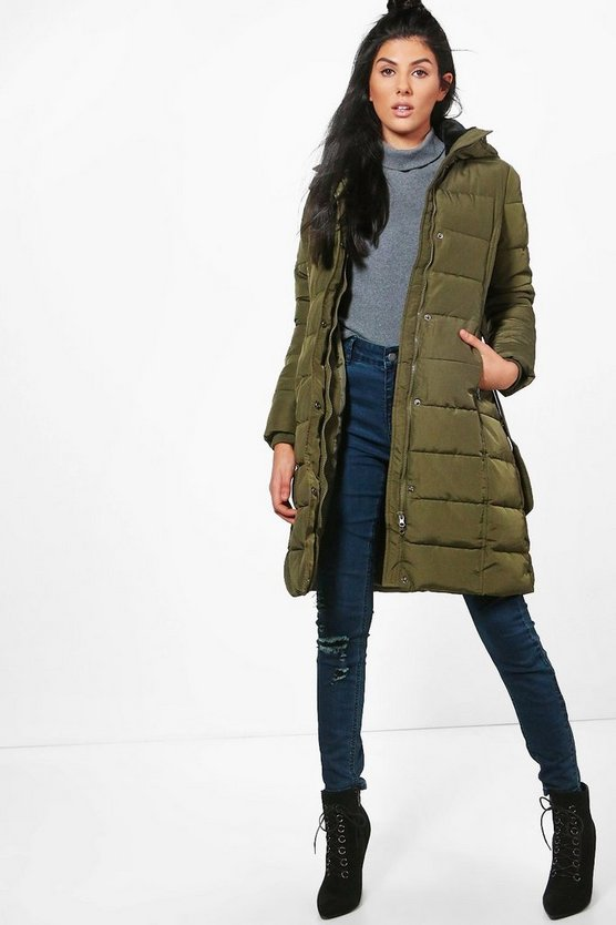 Abbie Longline Padded Belted Coat