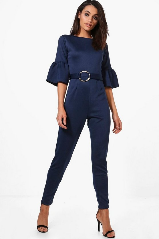 Freya Frill Cuff Belted Jumpsuit
