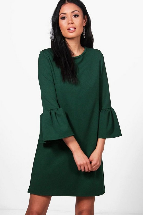 Lacey Scuba Crepe Frill Sleeve Shift Dress
