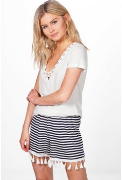 Anne Tassle Trim Striped Shorts
