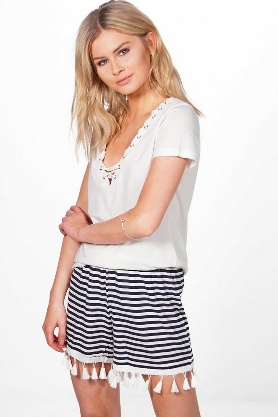Anne Tassel Trim Striped Shorts