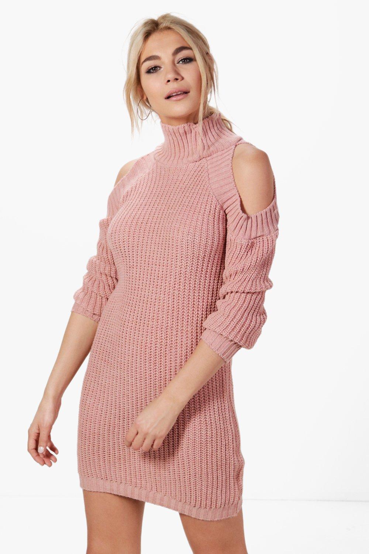 vestido estilo suéter con cuello alto y hombros descubiertos niamh ...