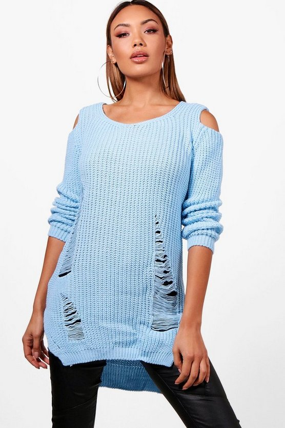 Lottie Soft Knit Cold Shoulder Distressed Tunic Jumper