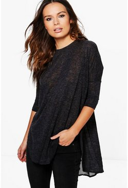 Maria Chiffon Insert Oversized Knit Top