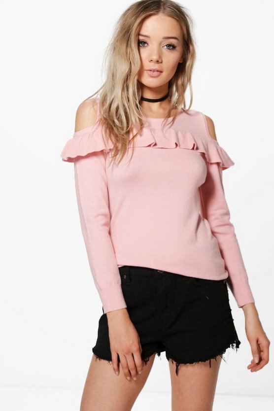 Emma Cold Shoulder Frill Jumper