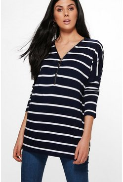 Danielle Zip Up Stripe Jumper