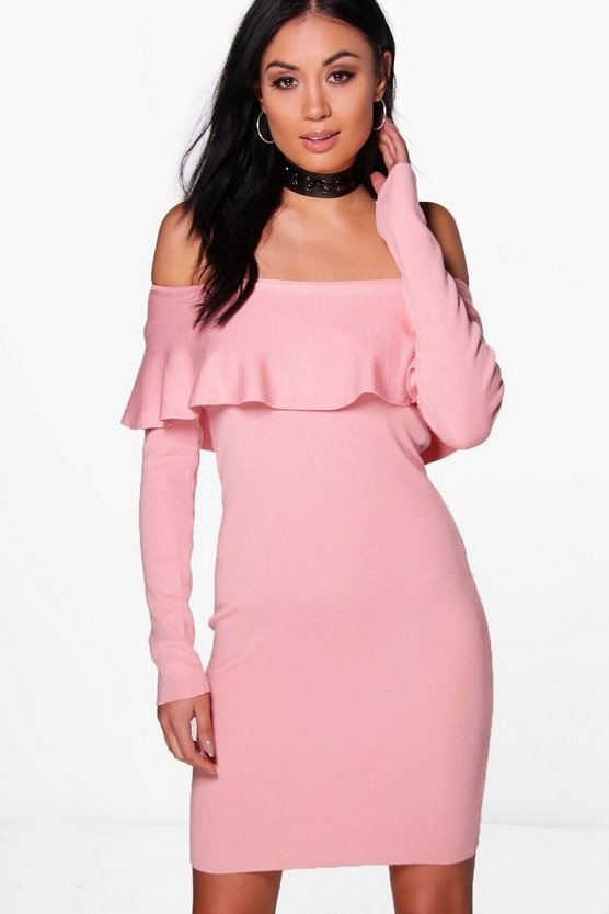 Abigail Ruffle Bardot Jumper Dress