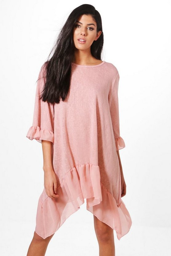 Aimee Ruffle Hem Dress
