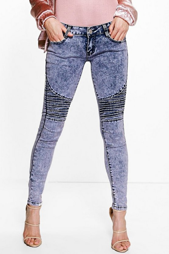 Lucy Low Rise Acid Wash Biker Skinny Jeans