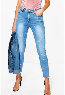 Lola High Waisted Paint Splash Skinny Jeans