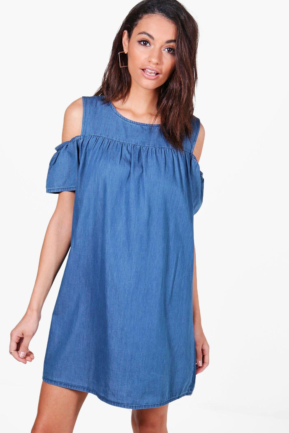 Cold Shoulder Ruffle Denim Dress  mid blue