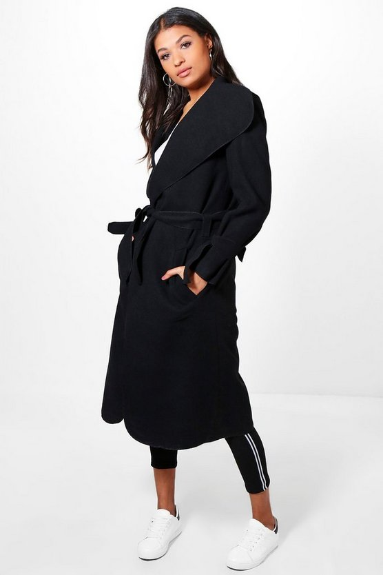 Kerry Belted Wool Coat With Tie Cuff Detail