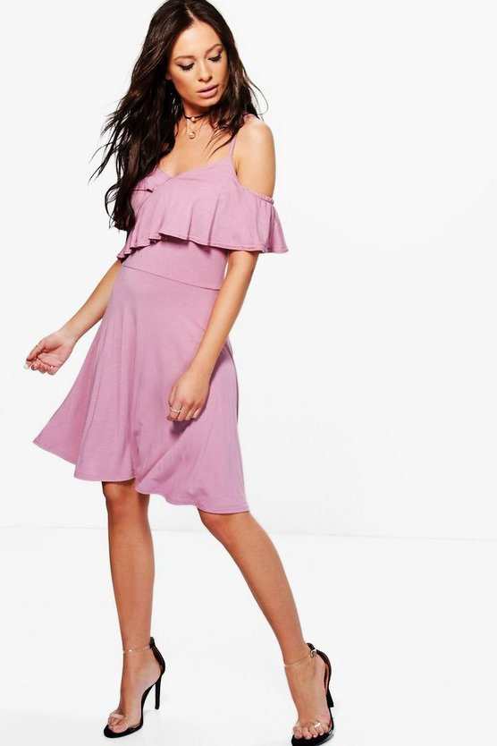 Aisling Frill Cold Shoulder Skater Dress