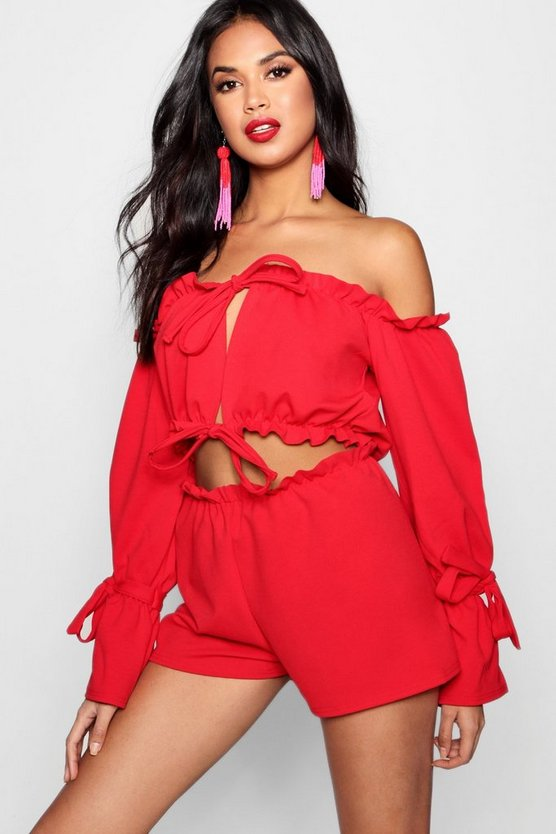 Off Shoulder Frill Crop & Short Co-ord Set