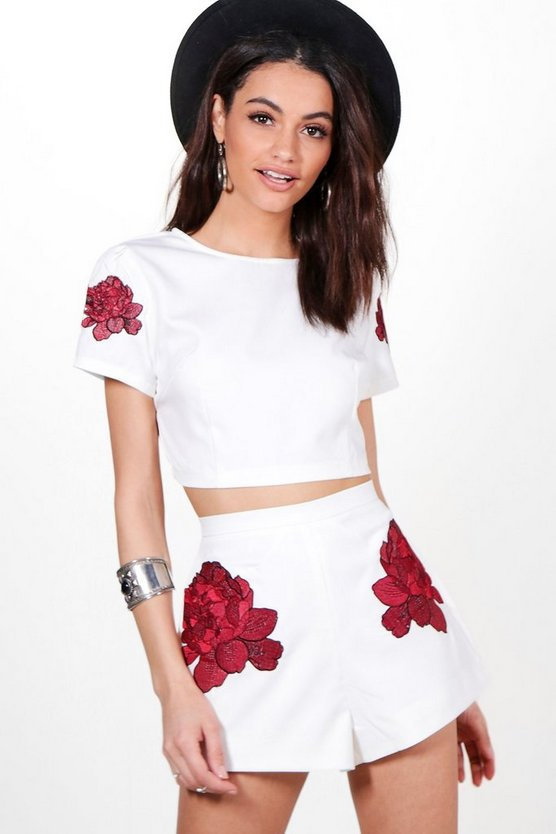 Emily Embroidered Crop & Short Co-ord Set