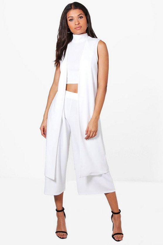 Rose 3 Piece Crop Culotte & Duster Co-ord Set