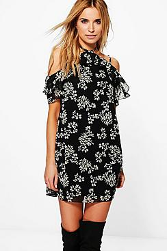Addison Floral Ruffle Tie Neck Shift Dress