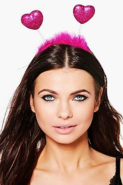 Millie Glitter & Fluffy Heart Headband