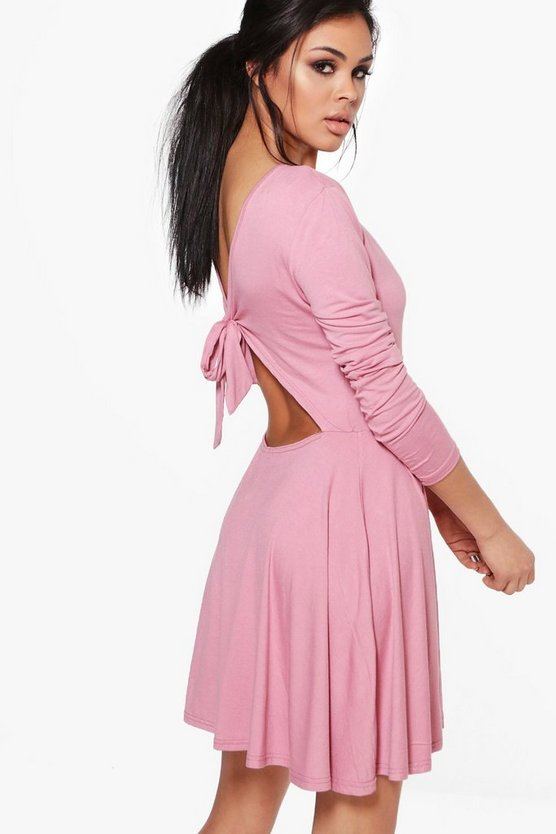 Yasmin Tie Back Long Sleeve Skater Dress