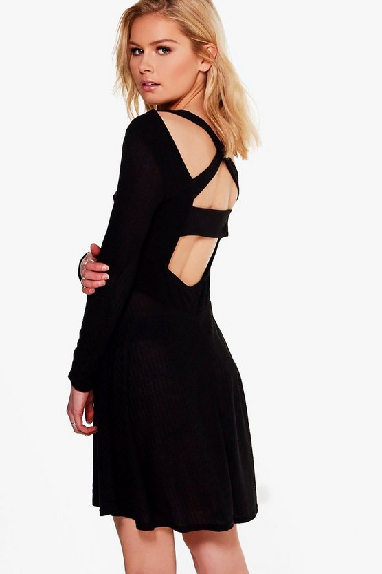 Zahiah Rib Cross Back Skater Dress