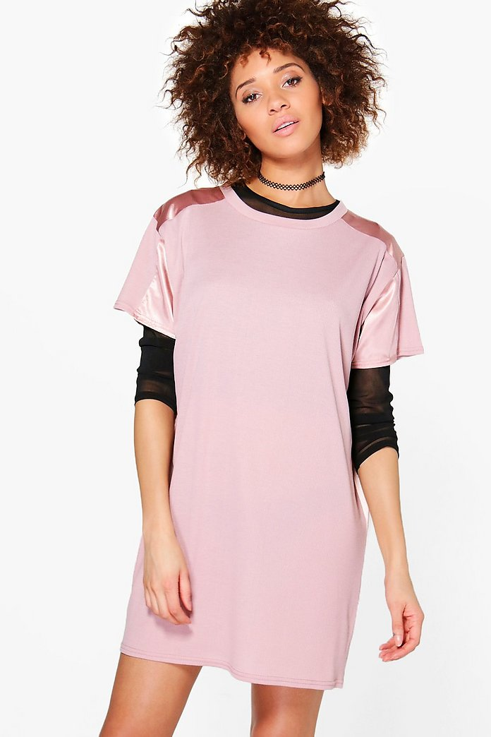Aaliyah Rib and Satin Detail Shift Dress