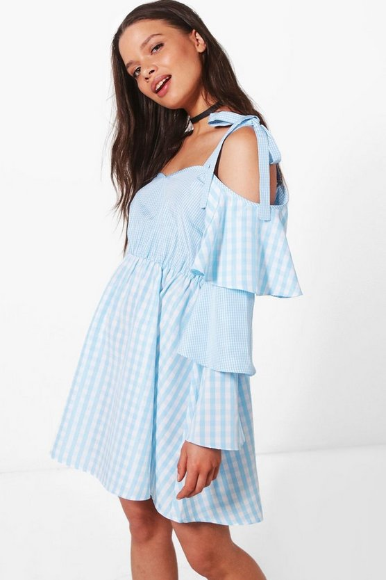 Xanthe Gingham Ruffle Sleeve Swing Dress